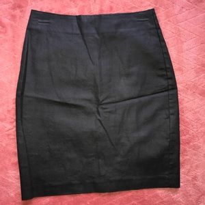 Banana Republic coated black denim mini skirt